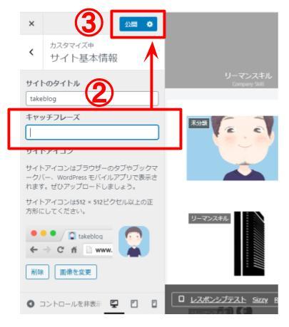 ②「サイト基本情報」→「キャッチフレーズ」入力→③「公開」