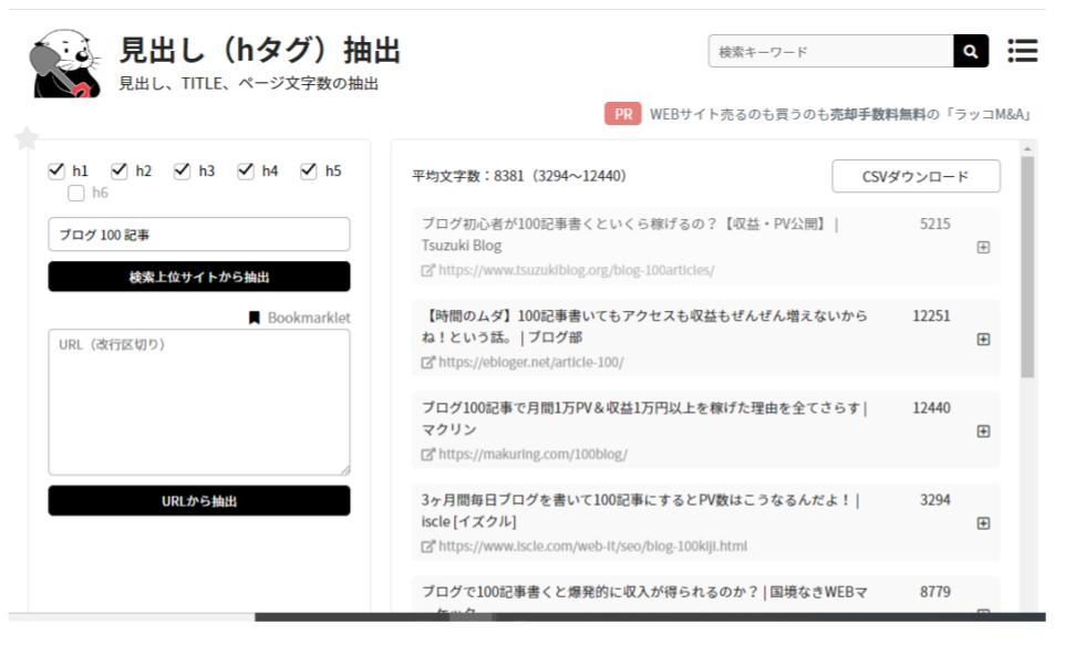 ブログの見出し抽出ツール